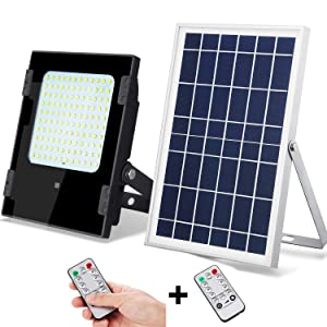 Solar Flood Light with Remote Controller Outdoor&Indoor 1000lumens 120Leds Dusk to Dawn IP67 Waterproof for Garden,Landscape,Yard,Porch,Patio,Garage,Pool,Sign,Billboard (White led/Remote Controller)
