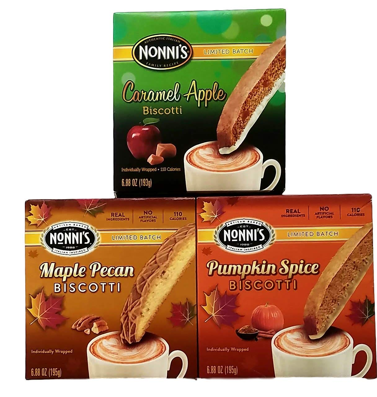 Caramel Apple, Maple Pecan, Pumpkin Spice Biscotti - Limited Batch Fall Flavors - Variety Pack Bundle of 3 by Nonni'sBiscotti
