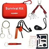 Kungix Outdoor Emergency Survival Gear Kit with Waterproof Bag