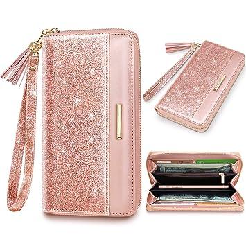 Amazon.com: Carteras para mujer de piel con purpurina rosa ...