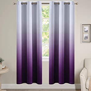 Yakamok Light Blocking Gradient Color Curtain Panels Purple Ombre Blackout Curtains Room Darkening Thermal Insulated Grommet Window Drapes for Children's Bedroom (Purple, 2 Panels, 38x72 Inch)