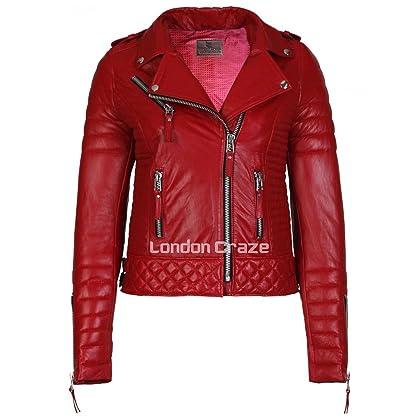 0ad275f0fb6 Women s Leather Jacket Stylish Motorcycle Biker Genuine Lambskin XS Red