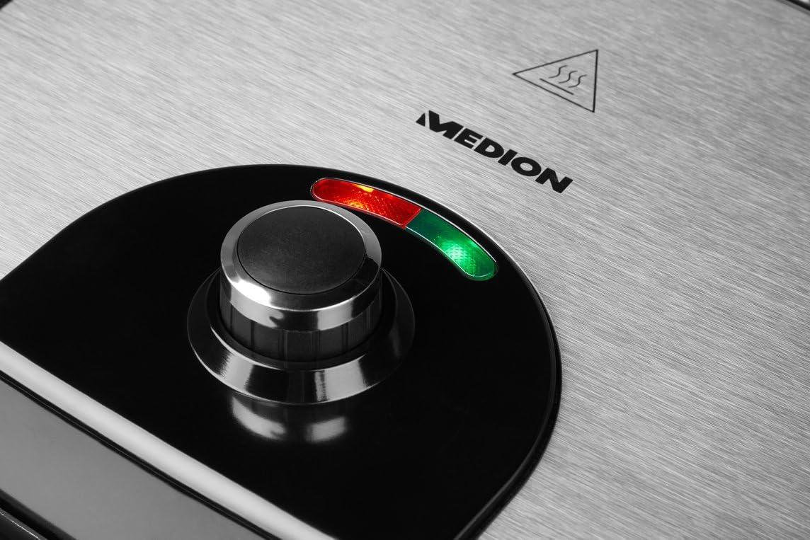 INOX//Noir MEDION MD16832 Grille-Viande et Panini