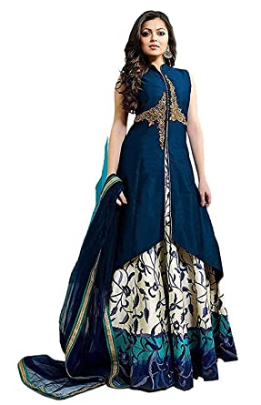 c30e44648d Varudi Fashion Women's Taffeta Silk Embroidered Jacket & Gown Dress Material