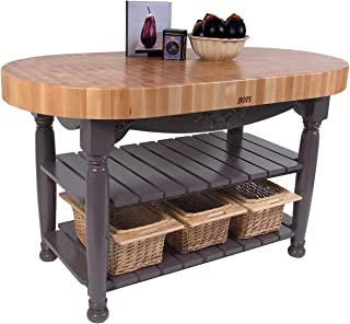 product image for American Heritage Harvest Kitchen Island with Butcher Block Top Base Finish: Basil Green