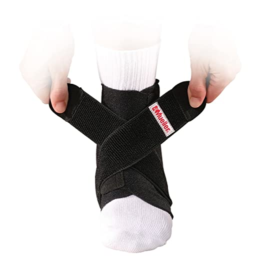 Picture of a person putting on the Mueller ankle brace