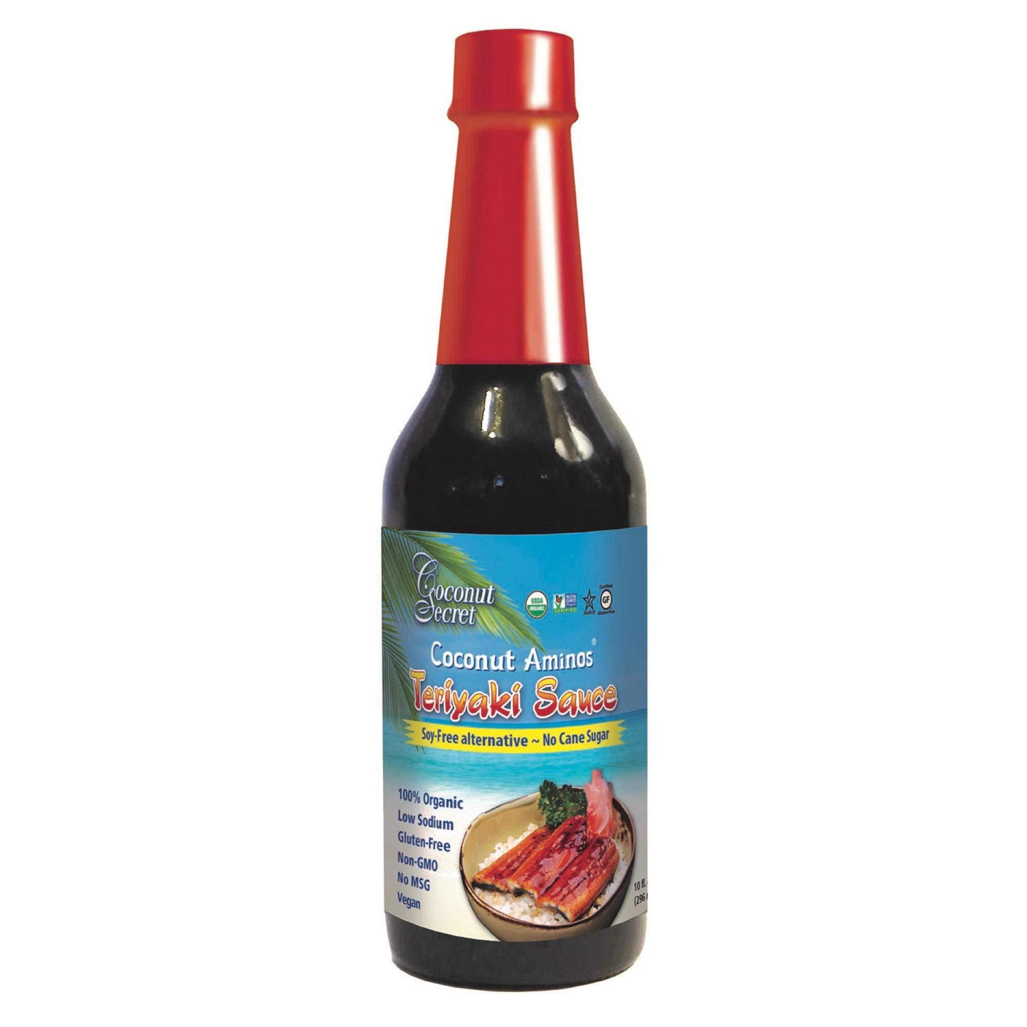 Coconut Secret Coconut Aminos Teriyaki Sauce - 10 fl oz - Low Sodium Soy-Free Teriyaki Alternative, Low Glycemic - Organic, Vegan, Non-GMO, Gluten-Free, Kosher - 20 Servings