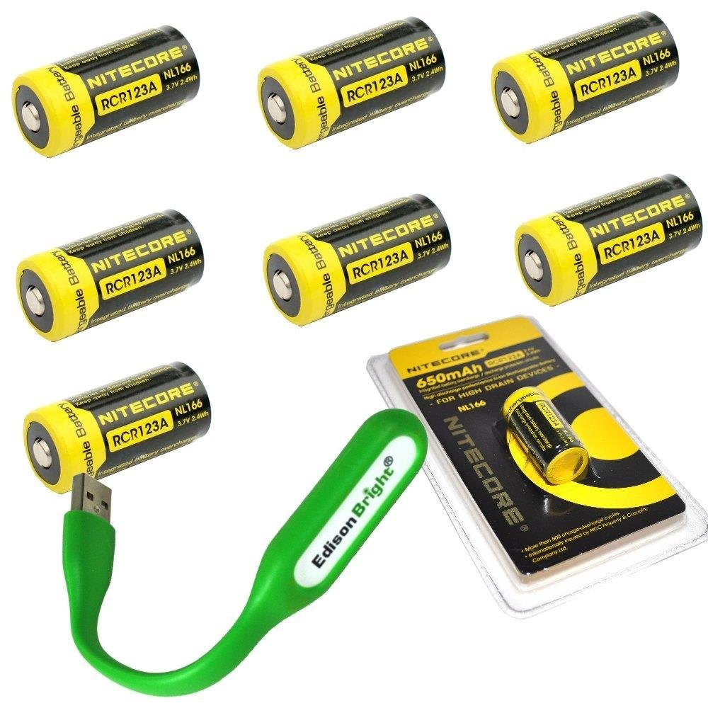 Bundle 8 Pack Nitecore NL166 RCR123A 3.7V 650mA 2.4Wh Protected Li-ion 650mAh 16340 Rechargeable Batteries with EdisonBright USB powered LED reading light by EdisonBright (Image #1)