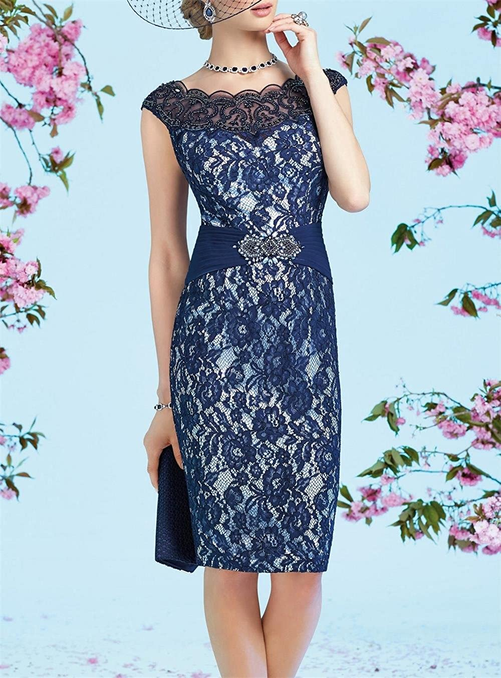 765b02d079 Newdeve Navy Blue Mother Of The Bride Dresses For Women Short Lace Evening  Gown at Amazon Women s Clothing store