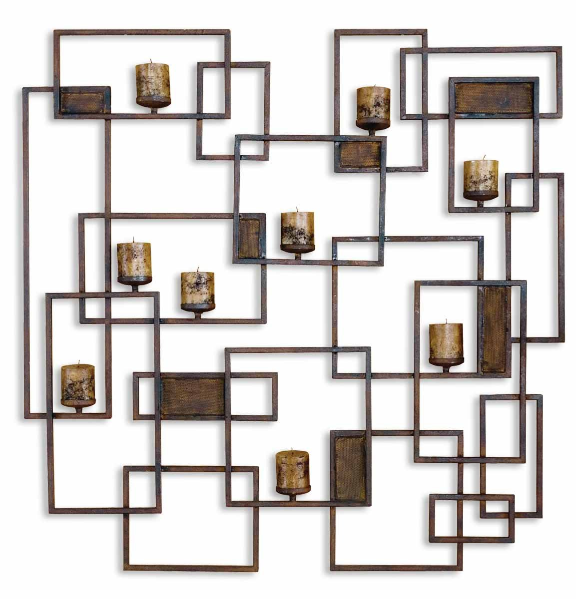 Extra Large Contemporary Geometric Wall Candle Sconce by Uttermost