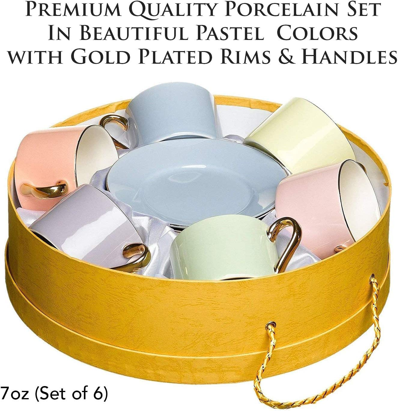 Yedi Houseware Classic Coffee and Tea Cups /& Saucers|Complete Set of 6 Premium Quality Porcelain Set In Beautiful Pastel Colors with Gold Plated Rims /& Handles|Stunning Hostess Gift Idea|7oz