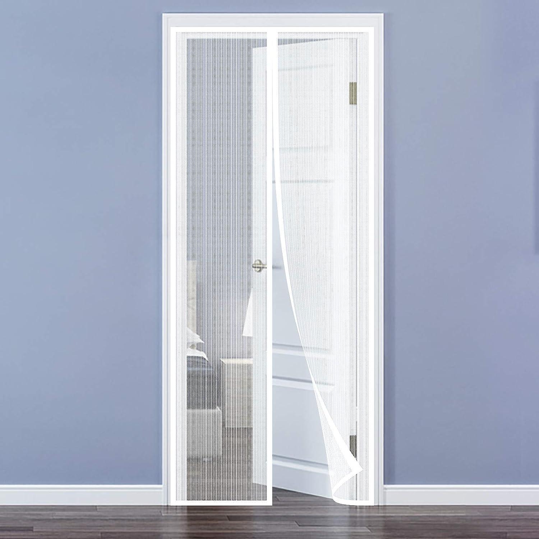 Portes Moustiquaire Porte Magn/étique Moustiquaire sur Mesure de Porte,Rideau de Porte Antimoustique pour Couloirs 100 x 210 cm Blanc Patio.Facile /à Installer Le Joint d/étanch/éit/é