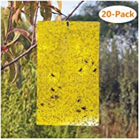 Loosnow 20pcs Sticky Traps Yellow Dual-Sided Paper Sticker for Flying Insect Bugs Flies Whiteflies