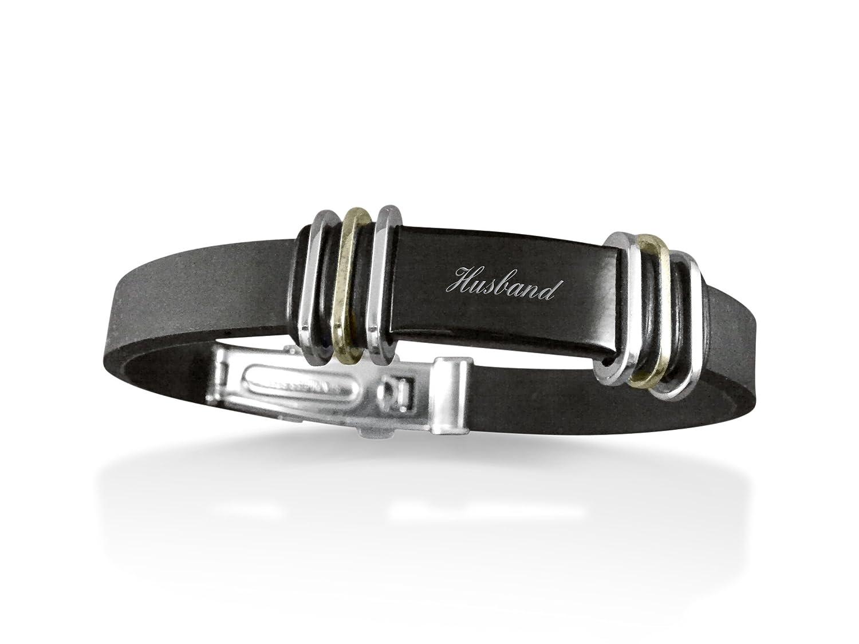 Luxury Engraved Gifts UK Mens Husband Rubber /& Steel Identity Id Bangle Bracelet BR50