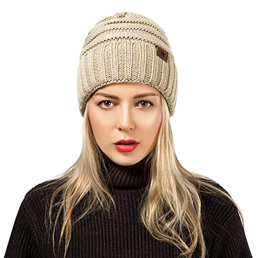 e113fe51220 ADUO Beanie Hat Warm Winter Soft Stretch Cable Knit Funky Beanie Skully  Women Men