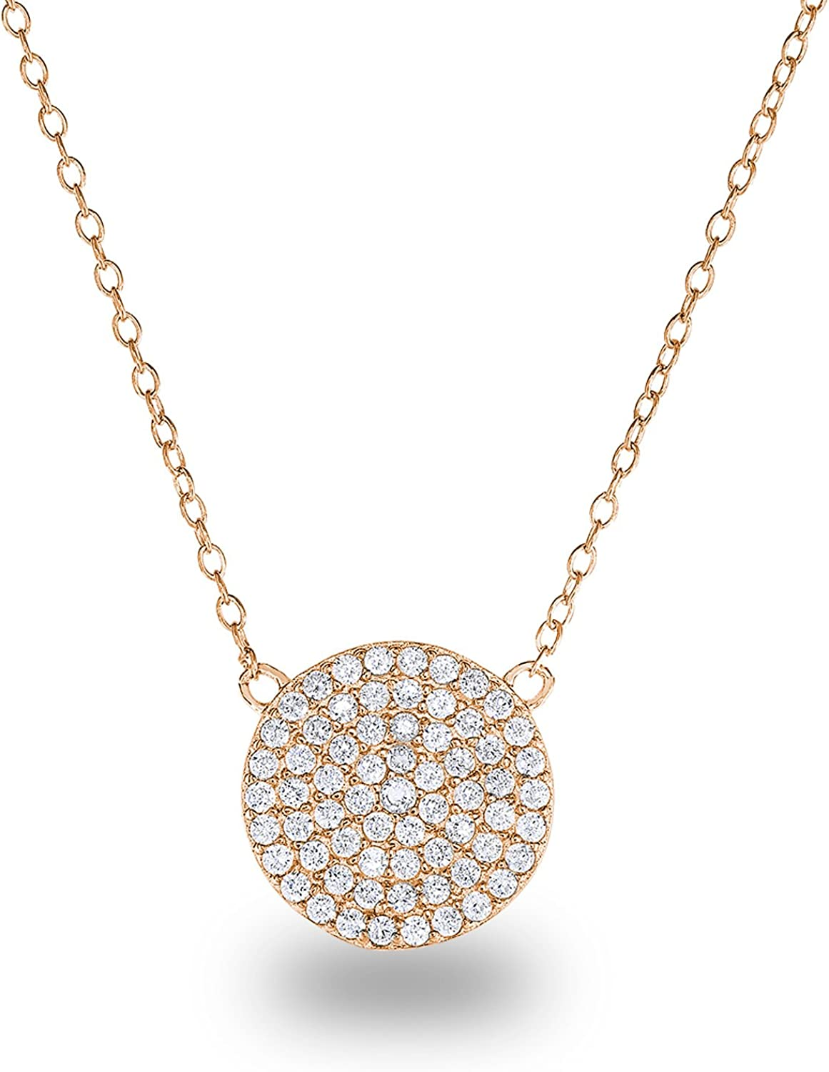 Spoil Cupid 14K Gold Plated 925 Sterling Silver Cubic Zirconia Disc Necklace With Circle Pendant 12mm Diameter, 18 Inch