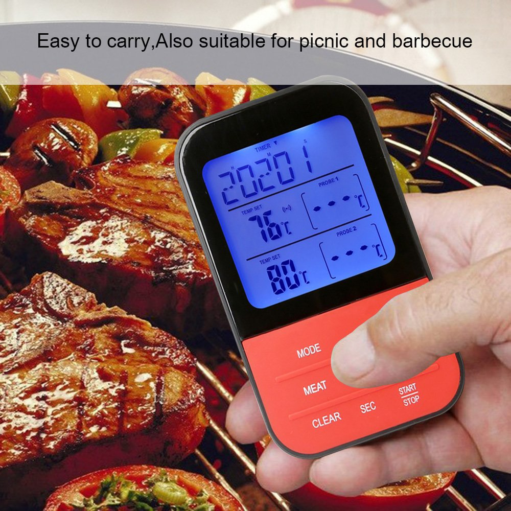 Wireless Barbecue Thermometer,iDeep Digital Meat Thermometer Cooking Thermometer Food Thermometer Instant Read Screen Timer Alert Function about 98 Feet Range with 2 Probe for BBQ Oven Picnic Kitchen by iDeep (Image #9)