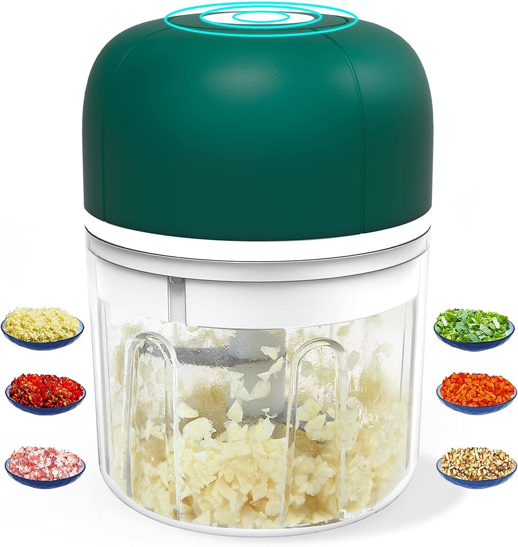 Electric Mini Garlic Chopper, Wireless Food Processor with USB Charging, Waterproof Portable Mini Garlic Mincer for Baby Food Vegetable Onion Meat Seasoning Nut (250ml/ 8.5oz Green)
