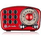 レトロラジオ ワイドfm対応 ブルートゥーススピーカー AOOEOU 多機能 小型 FM ラジオ ポータブル Bluetooth 高感度 重低音 簡単操作 音楽プレイヤー MP3 AUX TFカード対応 赤
