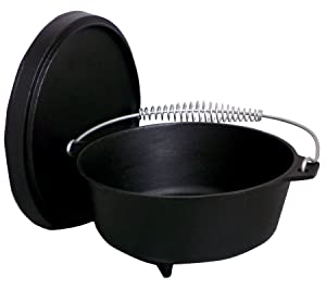 King Kooker Pre-seasoned Outdoor Cast Iron Dutch Oven with Feet, 8-Quart