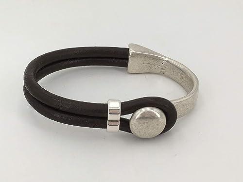pulsera unisex hecha a mano de cuero y zamak con ba/ño de plata pulsera de cuero de hombre pulsera boho pulsera de cuero mujer