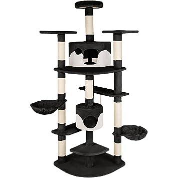 TecTake Rascador Para Gatos Árbol Para Gatos Trepar Sisal Juguetes 204cm - disponible en diferentes colores - (negro blanco | no.