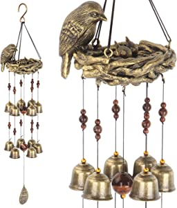Gardenvy Bird Nest Wind Chime, Bird Bells Chimes with 12 Wind Bells for Glory Mother's Love Gift, Garden Backyard Church Hanging Decor, Bronze