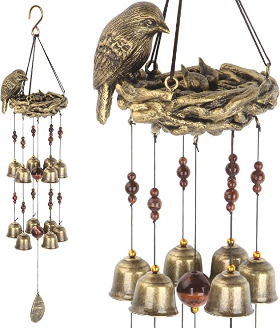 """Cast Iron 5 Bell Mobile 23/"""" Birds on a Branch Bell Wind Chime"""