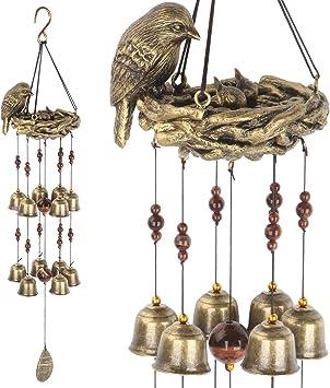 Gardenvy Bird Nest Wind Chime Bird Bells Chimes With 12 Wind Bells For Glory Mother S Love Gift Garden Backyard Church Hanging Decor Bronze Furniture Decor