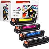 Toner / Drucker-Patronen 4er Pack kompatibel für HP Color LaserJet (125A) CB540A - CB543A , CM-1312 MFP , CM-1312 NFI MFP , CP-1210 , CP-1213 , CP-1214 , CP-1214 N , CP-1215 , CP-1216 - (BK,C,Y,M)