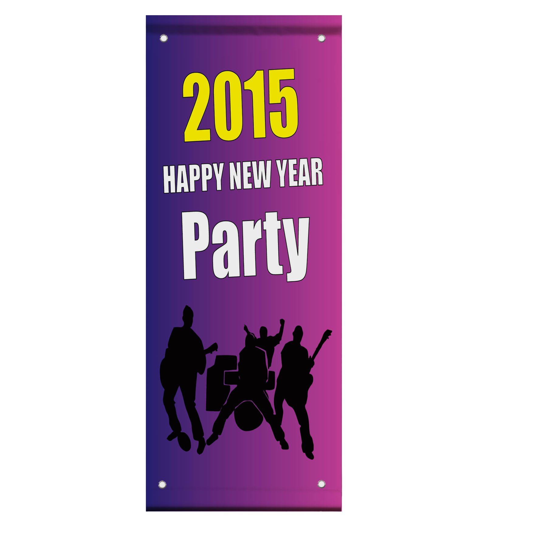 2015 Happy New Year Party Double Sided Vertical Pole Banner Sign 18 in x 26 in w/ Pole Bracket