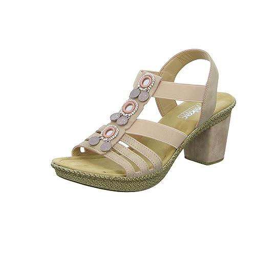 f5bd2707ebdb6 Rieker 66527-31 Ladies Embellished Block Heel Sandals Nude: Amazon ...