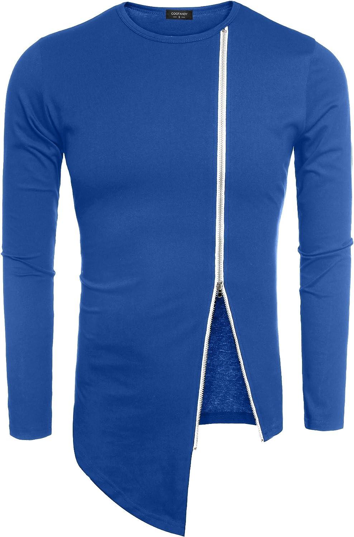 COOFANDY Men's Hipster Hip Hop Shirt Casual Zipper Shirt Irregular Short Sleeve T Shirt