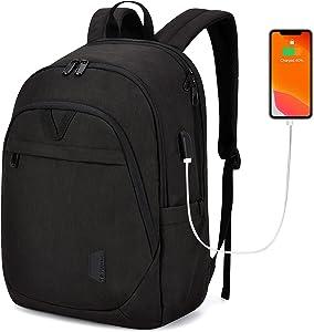 Laptop Backpack for Men BAGSMART College Backpacks 15.6'' Notebook Work Travel Backpack for Men Scool Work Daily Bag Black