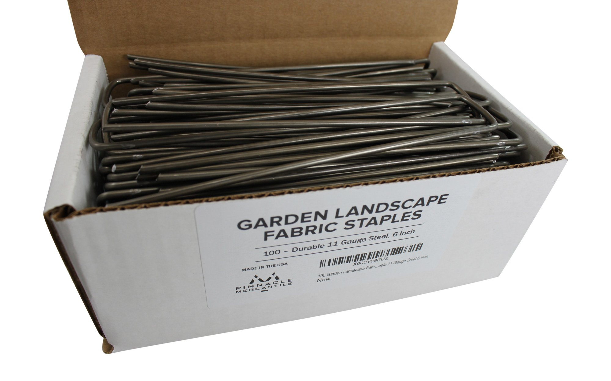 Pinnacle Mercantile 100 Garden Landscape Staples Fabric Anchor Stakes Strong 11 Gauge Steel 6 Inch Made In USA by Pinnacle Mercantile