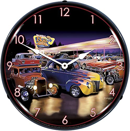 Burger Bob's Hotrod Diner Lighted Clock