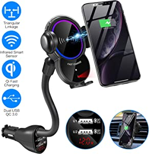 Car CigaretteLighter Wireless Charger Mount- Automatic Clamping Phone Holder,Infrared Smart Sensor Dual USB QC3.0 Ports 10W 7.5W Qi Fast Charging Air Vent Cradle for Cell Phone