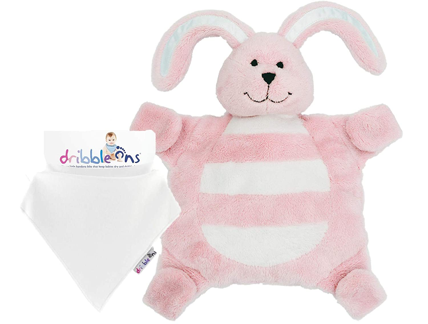 Gift Bundle Award Winning Attachable Pink Bunny Sleepytot Comforter Baby Sleeping Aid with Stick Together Paws to hold Soothers Plus White Bandana Dribble On Bib