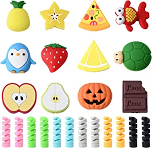 24 Pcs Charger Cable Protectors for iPhone/iPad/Airpods/iwatch/Earphone, Cute Animal Fruit USB Charging Cable Saver and Spiral Tube Spring-Shaped Flexible Wire Protector