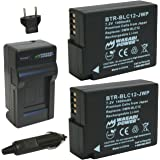 Wasabi Power Battery and Charger Kit for Panasonic DMW-BLC12 DMW-BLC12E DMW-BLC12PP and Panasonic Lumix DMC-FZ200 DMC-G5 DMC-GH2