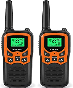 ANSIOVON Walkie Talkies for Kids Long Range 2-Way Radios Up to 5 Miles Range in Open Field 22 Channel FRS/GMRS Kids Walkie Talkies UHF Handheld Walky Talky (2 Pack)