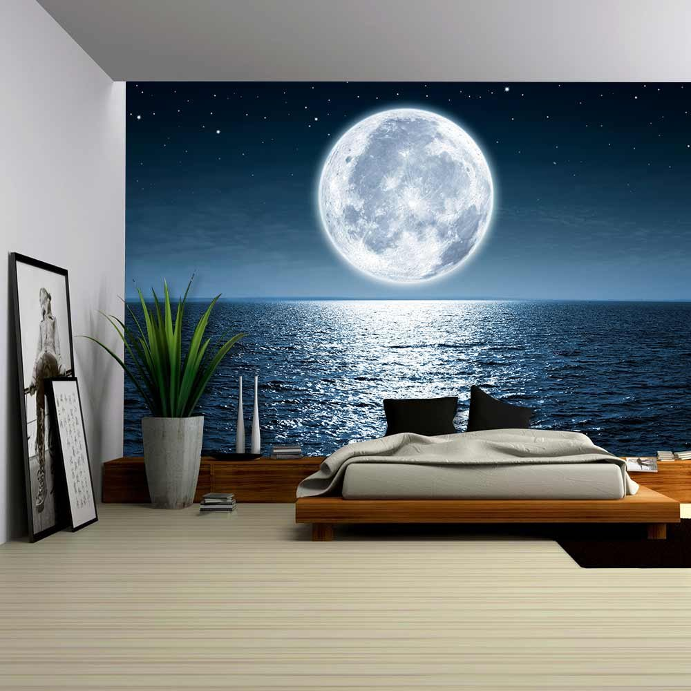 Wall26   Full Moon Rising Over The Ocean Empty At Night With Copy Space    Removable Wall Mural | Self Adhesive Large Wallpaper   100x144 Inches