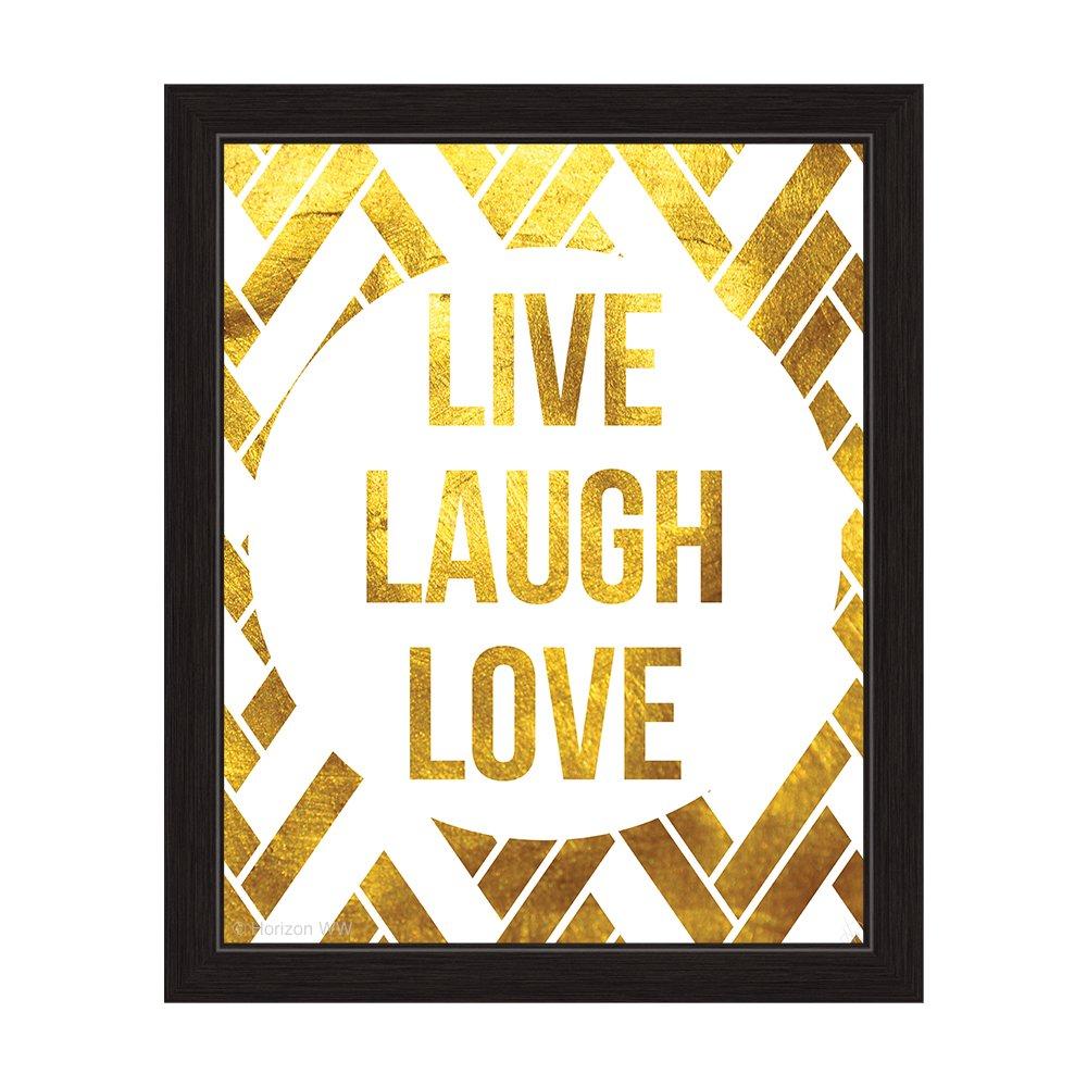 Amazon.com: Matte Non-Metallic Gold and White Geometric Live Laugh ...