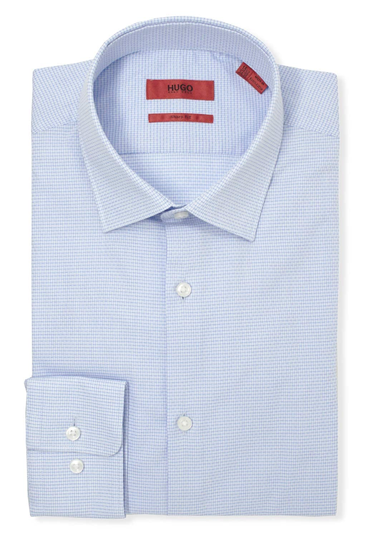 Hugo Boss Mens Mabel Sharp Fit Tonal Check Dress Shirt