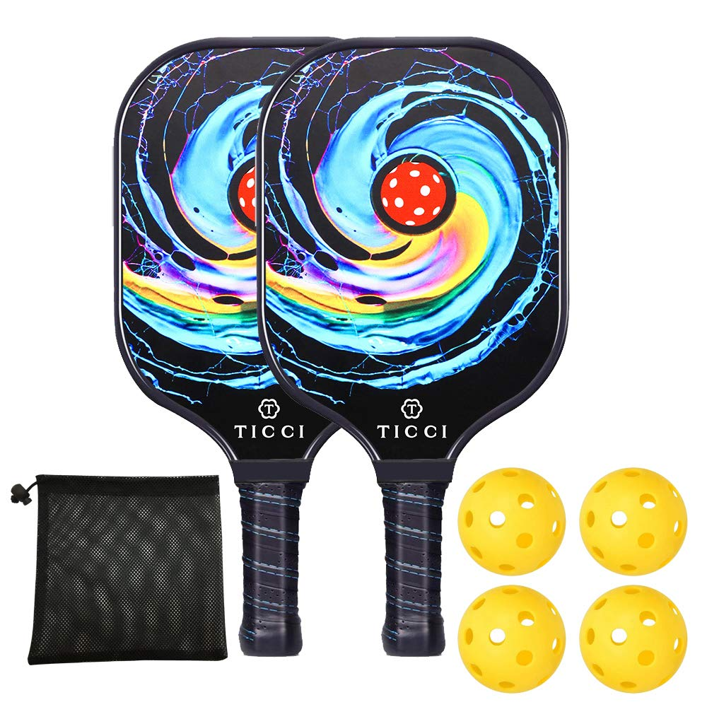 TICCI Pickleball Paddle Set Fiberglass Face Pickleball Racket Lightweight Honeycomb Composite Core Pickleball Racquet Set Includes 2 Paddles+4 Balls+1 Bag (Gorgeous) by T TICCI