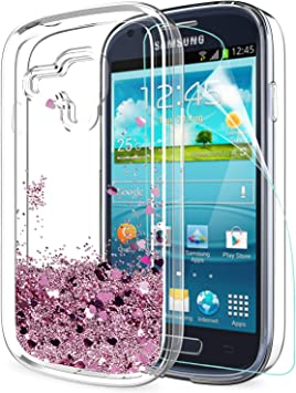 LeYi Funda Samsung Galaxy S3 Mini Silicona Purpurina Carcasa con HD Protectores de Pantalla,Transparente Cristal Bumper Telefono Gel TPU Fundas Case Cover Para Movil Samsung Galaxy S3 Mini ZX Oro Rosa: Amazon.es:
