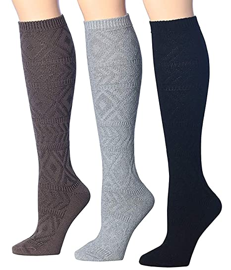 3f9c4ae5ab Tipi Toe Women's 3-Pairs Winter Warm Knee High Cotton-Blend Boot Socks