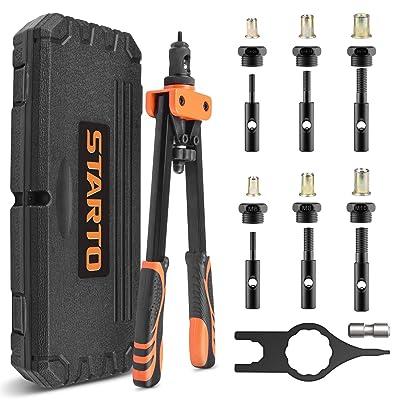 "STARTO 14"" Rivet Nut Tool, Hand Rivet Nut Setter Kit with 6pcs Metric/SAE Interchangeable Mandrel(1/4-20, 5/16-18, 3/8-16, M6, M8, M10,) rivet installation tool with Carry Case 21 pieces rivet nuts: Home Improvement"