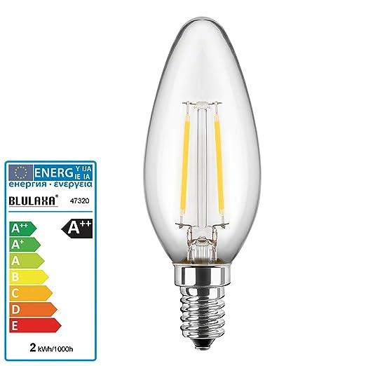 Bombilla LED tipo vela, 2 W, filamento de hilo, E14, bajo ...