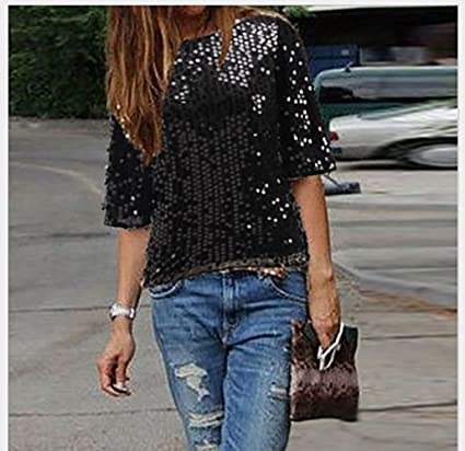 ecf598da287 Off Shoulder Glistening Sequin Cocktail Club Party Glam Glitter Plus Size T- Shirt at Amazon Women s Clothing store
